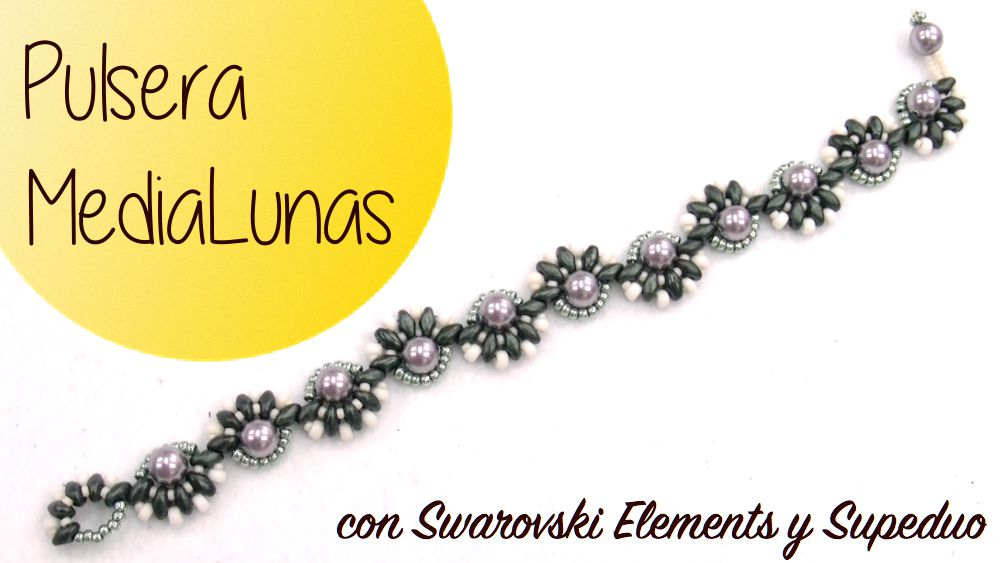 Tutorial Pulsera MediaLunas con Superduo y Swarovski Elements